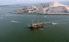 The tall ship Galeon is pictured arriving in Ocean City. Photo by Jim Whaley and Rally Rides OCMDHELICOPTERTOURS.COM