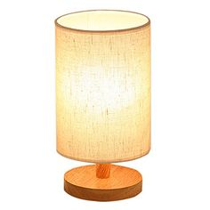 $19 Wood Table Lamp, HQOON Bedside Table Lamps for Bedroom, L...