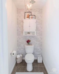 Wallpops Gray Brick Peel and Stick Wallpaper Modern Small Bathrooms, Rustic Bathrooms, Modern Bathroom, Natural Bathroom, Diy Bathroom Decor, Bathroom Storage, Bathroom Interior, Bathroom Ideas, Bathroom Renovations