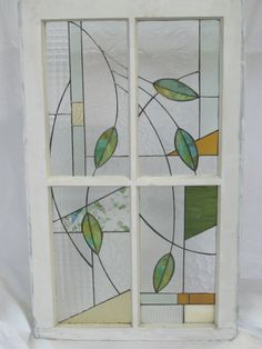Stained Glass Leaves in Shabby Chic Frame. $350.00, via Etsy.