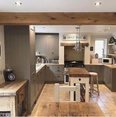 Sunday, my favourite day of the week. Big family roast today and then a lovely forest walk planned for later this afternoon! Barn Kitchen, Rustic Kitchen Cabinets, Refacing Kitchen Cabinets, Family Kitchen, Open Plan Kitchen, Kitchen Living, Country Kitchen, Kitchen Interior, New Kitchen