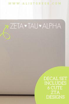 The perfect ZTA laptop decal from www.alistgreek.com! #sororitysticker #greekletters #sororityletters #cardecal #laptopsticker #statesticker #sticker #decal #zetataualpha #zeta #zta #ztadecal #ztasticker #biddaygifts