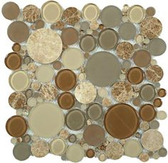 The Bubble Series Random Circle glass and stone mosaic tile color Toffee BFS-801.  There is a matching listello.