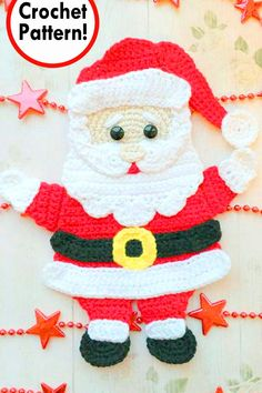 It's still Christmas in July! I just love Christmas crochet patterns. Let's continue this theme with some of the cutest Santa Claus crochet applique… Crochet Christmas Ornaments, Christmas Crochet Patterns, Holiday Crochet, Christmas Embroidery, Christmas Stockings, Christmas Crafts, Yarn Projects, Crochet Projects, Crochet Santa