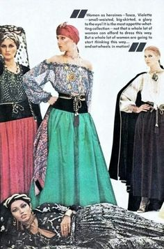 - Yves Saint Laurent Couture 'Ballets Russes' collection photographed by American Vogue Vintage Ysl, Vintage Couture, Vintage Vogue, Vintage Style, Yves Saint Laurent, 70s Fashion, Fashion History, Turbans, Christian Dior