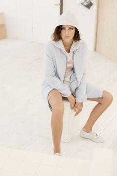 @bbdakota Hot Damn Coat, After Party Vintage Short and Sweet Top, Superga Cotu Sneaker in Light Gray - hoodie coming soon! #pastels #nastygal