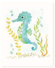 Watercolor Seahorse Print (8x10) - nursery art for children