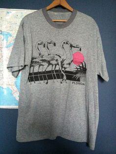 Retro 80s Florida Flamingo Graphic TShirt by Dashright on Etsy, $20.00