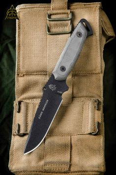 """Dawn Warrior  Blade Length: 5 1/2"""" O/A Length: 9 3/4"""" Cutting Edge: 4 1/4"""" Thickness: 3/16"""" Blade Color: Black Traction Coating Steel: 1095 High Carbon Alloy RC-58 Handle Material: Black Linen Micarta® Designed by D.J. Clifford Sheath: Kydex With a Rotating Steel Spring Clip Weight: 9.4oz Weight w/ Sheath: 12.6oz Mfg. Handcrafted in the USA"""