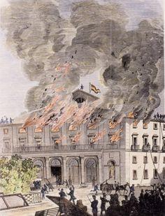 Efemérides de Madrid. 20 de Abril. 1867.- Se crea un gran incendio en el Teatro Real justo cuando Barbieri iniciaba un ensayo de una de sus obras.