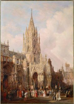 """""""Vista de la Catedral de Oviedo con una procesión"""" 1837  Genaro Pérez Villaamil (El Ferrol, La Coruña, 1807 – Madrid, 1854)"""