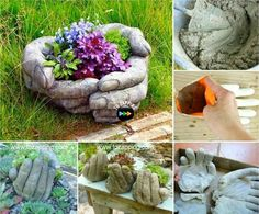 Over 20 of the BEST Garden Ideas & DIY Yard Projects - everything from yard art, planters, garden stones, green houses, & more! Hand Planters, Tire Planters, Garden Planters, Planter Pots, Garden Crafts, Garden Projects, Diy Projects, Diy Crafts, Yard Art