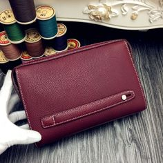 Free Shipping!2016 Hermes Outlet With Free Shipping-Hermes Classic Zippy Pouch For Men in Oxblood Togo Leather