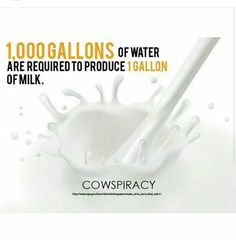 Vegan Facts... Vegan 101. Cowspiracy fact: 1000 gallons of water are required to produce 1 gallon of milk. (I wonder how much water is required to produce plant sources of calcium.)
