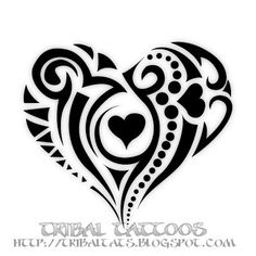 i hate tribal tattoos, but this gives me an idea for a couples tatto with one big heart with two hearts inside it. or something along the lines of two hearts making one: