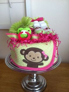 Image detail for -Hot Pink and Lime Green Monkey Mini Diaper Cake - Baby Girl Shower . Baby Shower Cakes, Baby Shower Gifts, Baby Gifts, Baby Shower Centerpieces, Baby Shower Decorations, Chelsea Baby, Baby Bouquet, Mini Diaper Cakes, Monkey Girl
