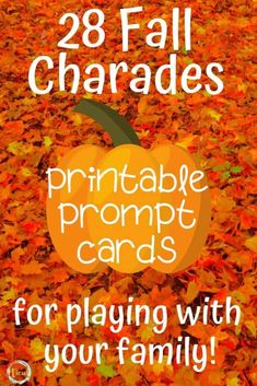 This fall charades printable game is the perfect way to get everyone in the family laughing and moving together. So much family-friendly fun! Fall Party Games, Fall Games, Holiday Games, Holiday Fun, Autumn Activities, Fun Activities, Charades For Kids, Thanksgiving Games For Kids, Thanksgiving Pictures