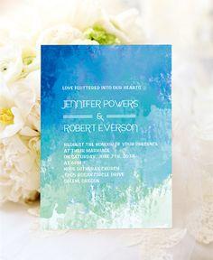 ombre blue summer watercolor wedding invitations for beach theme wedding ideas