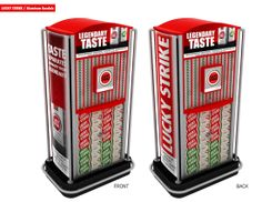 3D Rendition of LUCKY STRIKE Gondola cigarette dispenser. Now Avaialble in selected supermarkets