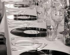Custom Unique Vinyl LP Place Settings - Favour - Favor - Music Theme Wedding