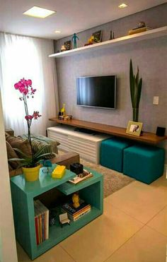 Living Room Tv, Small Living Rooms, Living Room Furniture, Living Room Designs, Apartment Furniture, Tv Room Small, Floating Shelves Bedroom, Rustic Floating Shelves, Room Shelves
