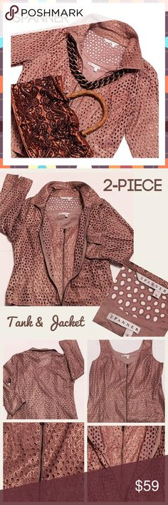 "SPANNER 2-Pce Tank & Jacket - Sz 8 - Tan & Gold Classy beautiful two-piece tan with tinged of metallic gold tank and jacket from Spanner, size 8.  Excellent condition.  Both zip up with the jacket also having a bottom zipper, should you prefer a sportier look.  Jacket Measurements:  Shoulders - 16.5"", Bust - 20"", Sleeves - 20"" (have a cuff to fold upward), Length  23"",  Tank Measurements:  Shoulders - 14"", Bust - 19 1/2"", Length - 23.5"" Spanner Tops"
