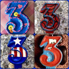 Cartoon character-inspired birthday candles created by The Glitz Shop! Hand-painted Lalaloopsie, Spiderman, Captain America, Tow Mater from Disney's Cars candles, and many more available!