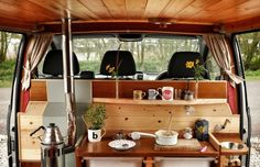 This campervan kitchen is small but perfectly formed with exquisite craftsmanship. Why not try it for yourself by hiring Finn for the weekend for the holiday of a lifetime from . Quirky CampersStafford - Finn