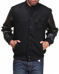 Buy Brooklyn Nets NBA Wool/Leather Varsity Jacket Men's Outerwear from NBA, MLB, NFL Gear. Find NBA, MLB, NFL Gear fashions & more at DrJays.com