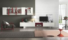 A splash of red in the white and gray living space Living Room Wall Units with Snazzy Compositional Freedom