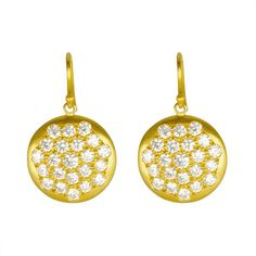 Caroline Ellen Yellow Gold and Pave Diamond Disc Earrings