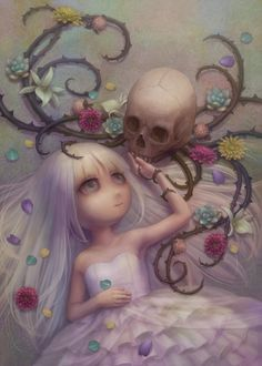 Skull with vine arms. deviant art. #skulls C81 by ~Daiyou-Uonome