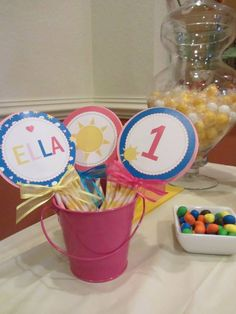 Ella's 1st Birthday- Customized sunshine decorations by my cousin @Fara de Fara Party Design  Check her out for your next party of any kind.She's awesome!