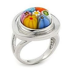Multi Color Round Murano Glass Millefiori Ring West Coast Jewelry. $69.95
