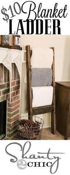 LOVE this #Blanket #Ladder! So making this! And a tall basket of pine cones