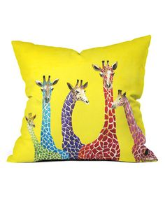 This Clara Nilles Jellybean Giraffes Fleece Throw Pillow is perfect! #zulilyfinds
