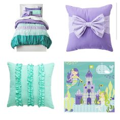 Little Mermaid girl's room. Love the teal and purple combo. So cute and fun!