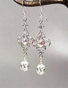 Vintage Inspired Swarovski Crystal Bridal Earrings