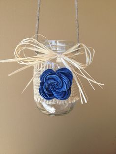 Rustic Hanging Mason Jar  Rustic Wedding Decor  by CountryBarnBabe, $6.50 Keeper, not hanging, but rose and all.