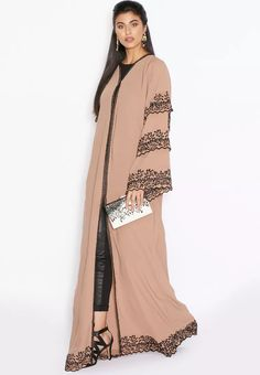 Embroidered Trim Layered Abaya from Hayas Closet