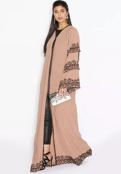 Embroidered Trim Layered Abaya from Hayas Closet