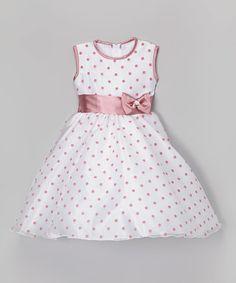 White & Rose Polka Dot A-Line Dress - Infant, Toddler & Girls by Kid Fashion #zulily #zulilyfinds