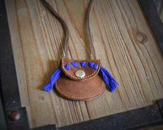 Leather pouch necklace Medicine bag necklace by GuilindujesShop