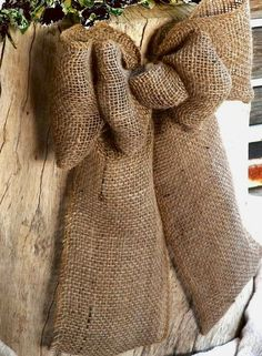 Stained Burlap Bow...