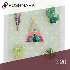 |new| Cactus & Camping Pin Set Adorable pin set! Featuring 5 pins: Feather, cactus, tent/teepee, succulent and potted cactus. Can be added to shirts, hats, bags, shoes, sweaters...you name it!   ✔️If you'd like to MAKE AN OFFER please do so through the offer button ONLY. I won't negotiate prices in the comments.  ✔️All items $15 and under are firm unless BUNDLED.  ❌No trades, PayPal, Holds 📷Instagram: @lovelionessie Accessories