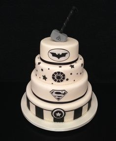This superhero wedding cake has been given a sophisticated edge with chic, monochrome icing. Made by Sugar Perfection, it features a medley of iconic superhero logos
