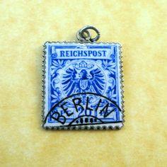 Antique German Art Nouveau Silver Enamel REICHSPOST EAGLE SERIES STAMP Charm