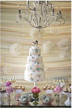 The soft colors and design of this dreamy cake look like a mix between balloons and flower petals. Photo by Gabriel Ryan Photographers via 100 Layer Cake Decoration Buffet, Deco Buffet, Paper Moon, Wedding Blog, Wedding Styles, Wedding Day, Buffet Dessert, Dessert Tables, Cake Table