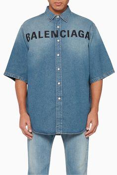 Shop Balenciaga Blue Embroidered Logo Denim Shirt for Men Balenciaga Spring, Balenciaga Mens, Denim Button Up, Button Up Shirts, Denim Shirt Men, Luxury Fashion, Mens Fashion, Refashion, Menswear