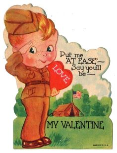 "WWII ARMY SOLDIER SAYS ""PUT ME AT EASE"" / VINTAGE 1944 MILITARY VALENTINE CARD"